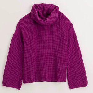 Splendid Fushcia Cowl Neck Sweater Chunk Sweater